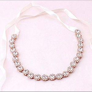 Bridal Headpiece Headband w/ Crystal & Ribbons